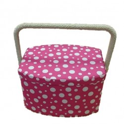 Pink & White Dotty Sewing Box
