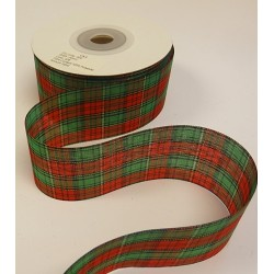 50mm Lurex Tartan Ribbon